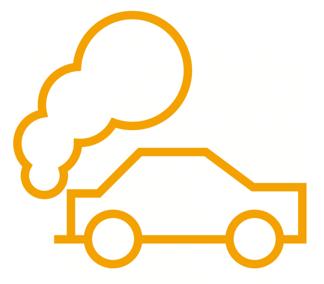Pollution graphic of car and exhaust